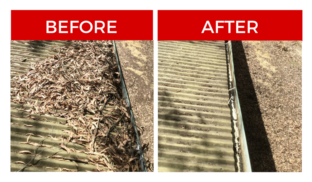 DOMESTIC GUTTER CLEANING BEFORE AND AFTER